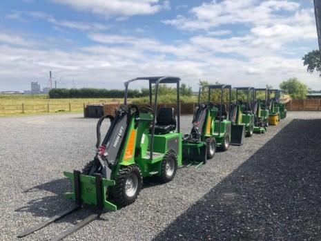 Mini loaders on a line
